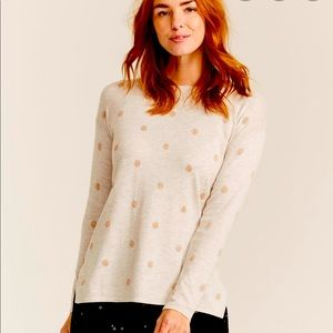 J. Crew Gold Polka-Dot Sweater - Size: M